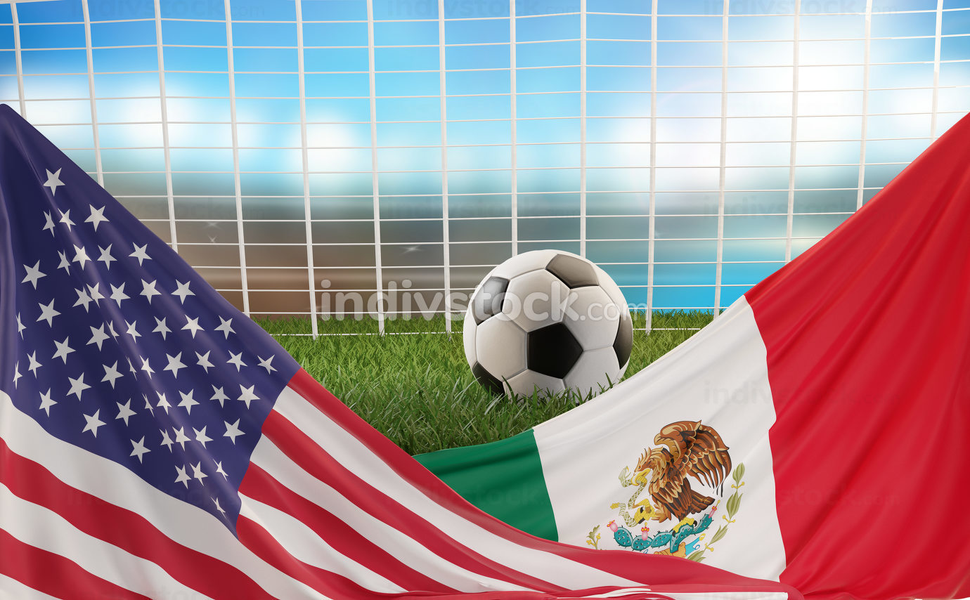 free download: flag of USA Mexico design soccer ball 3d-illustration