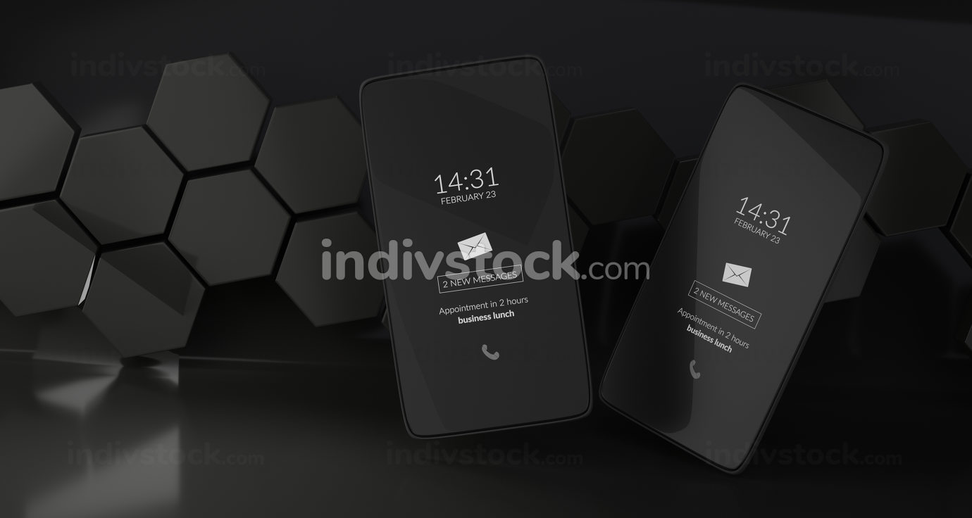 free download: hexagonal design dark mode mobile phone 3d-illustration
