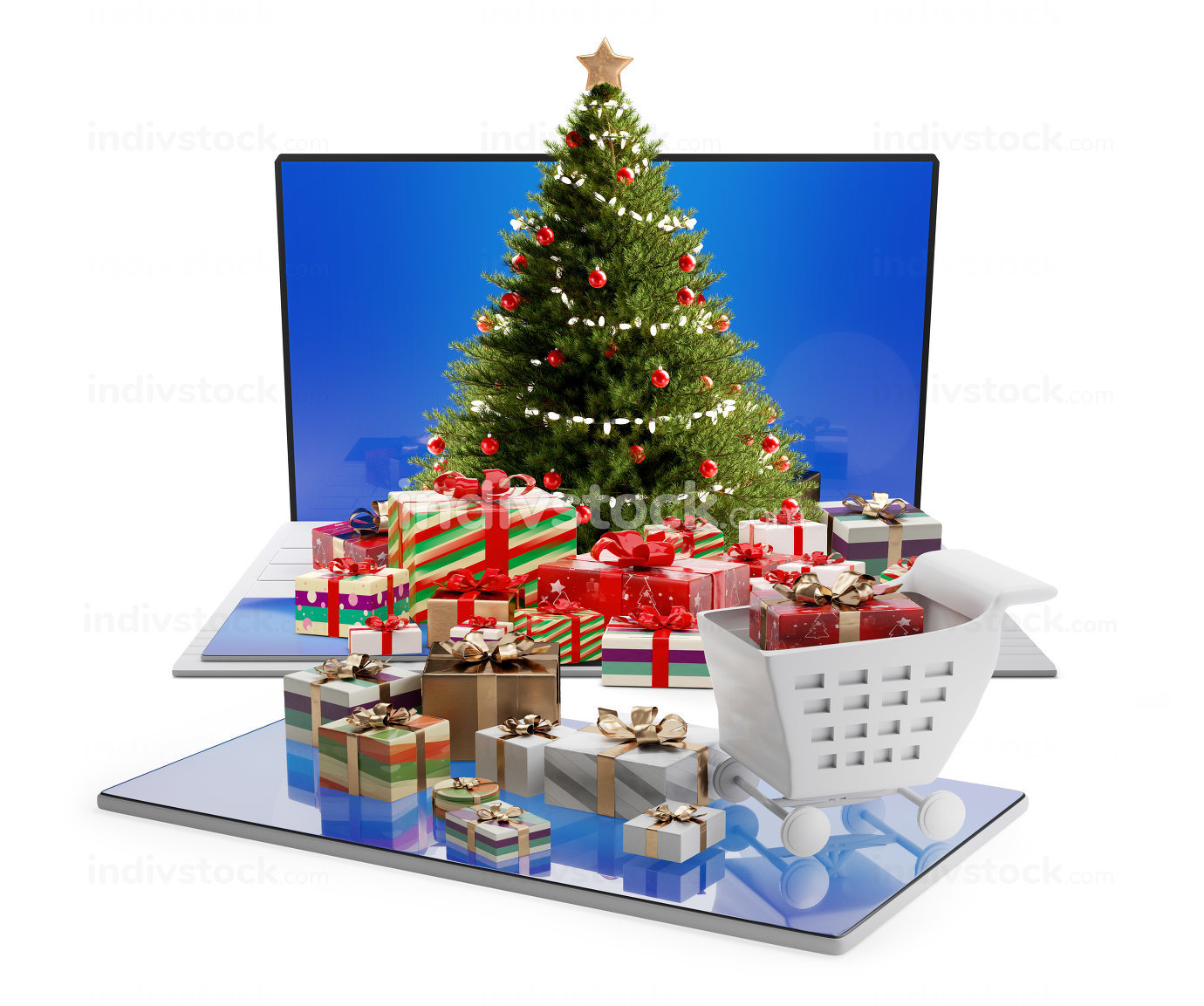 free download: online shopping concept. computer and christmas gifts 3d-illustr