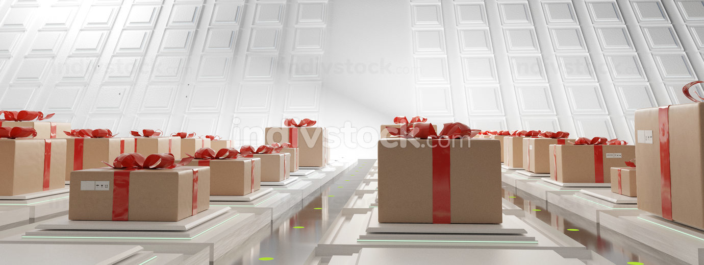 free download: Package Center for shipping festive gift box with bow 3d-illustr