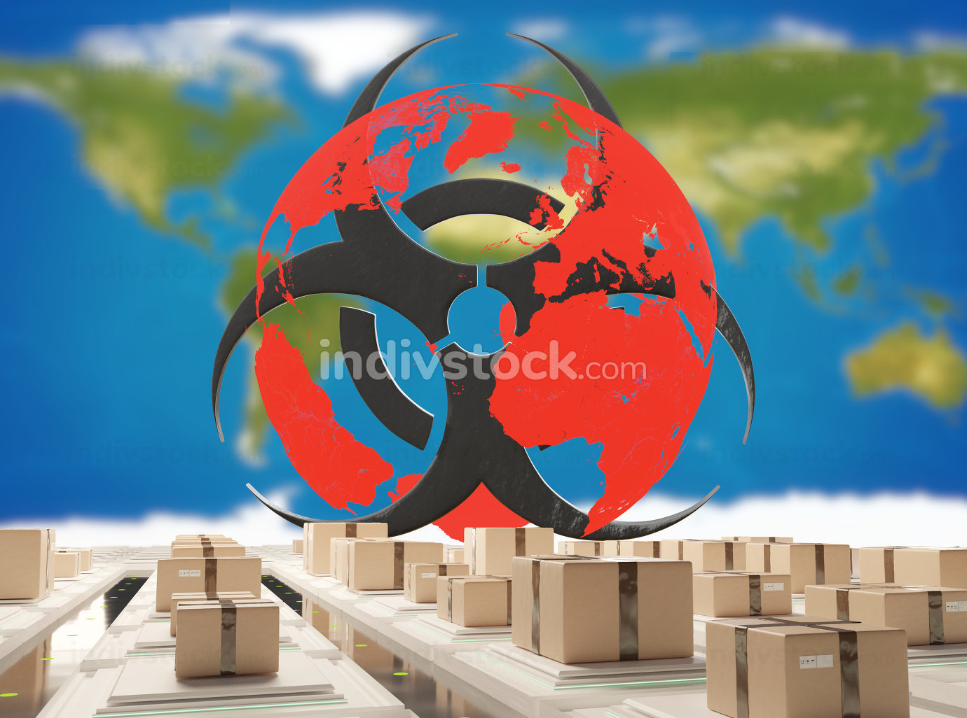 free download: postal parcel packages with red world wide globe with warning biohazard symbol 3d-illustration.elements of this image furnished by NASA
