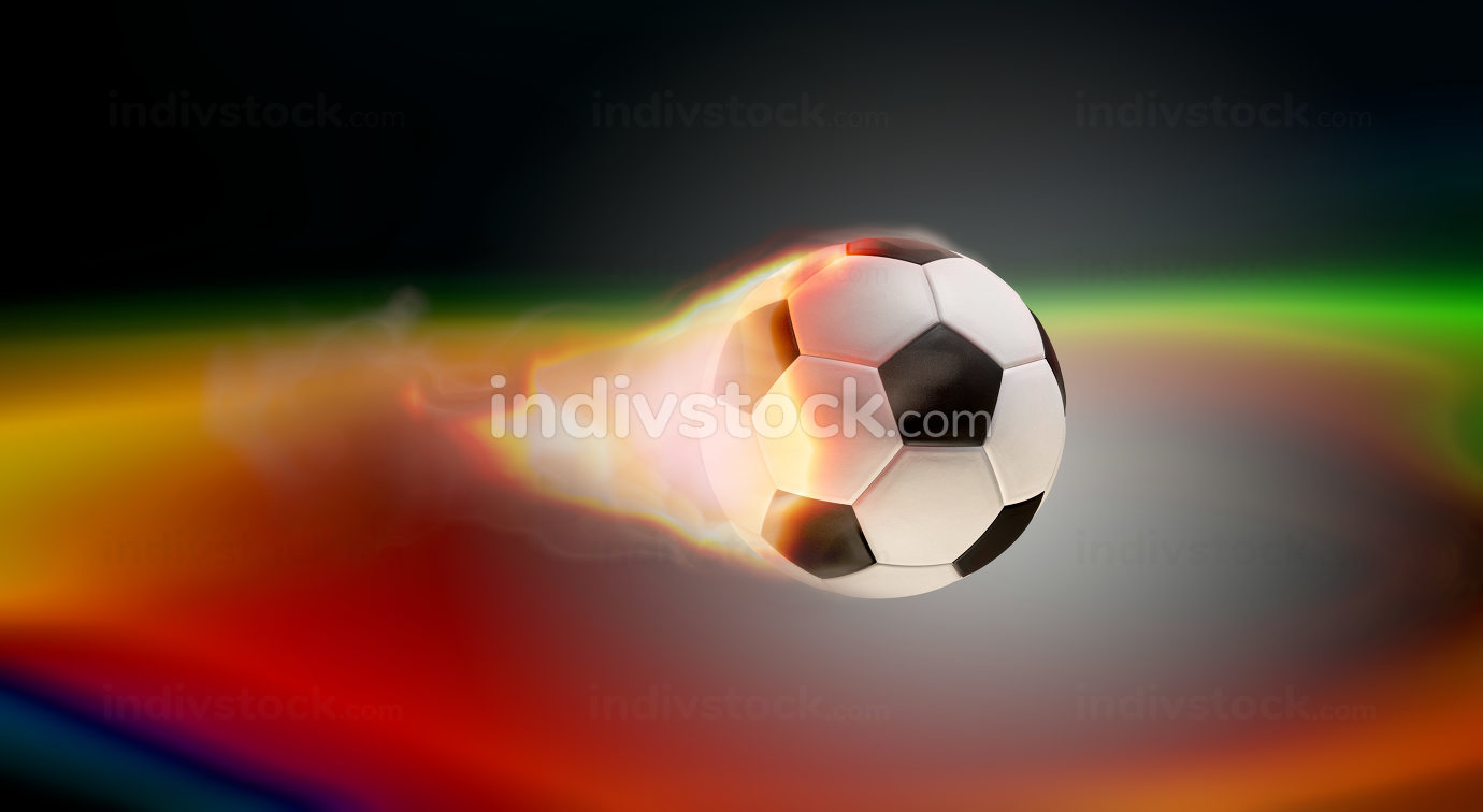 free download: soccer ball on fire creative lights dark background 3d-illustration