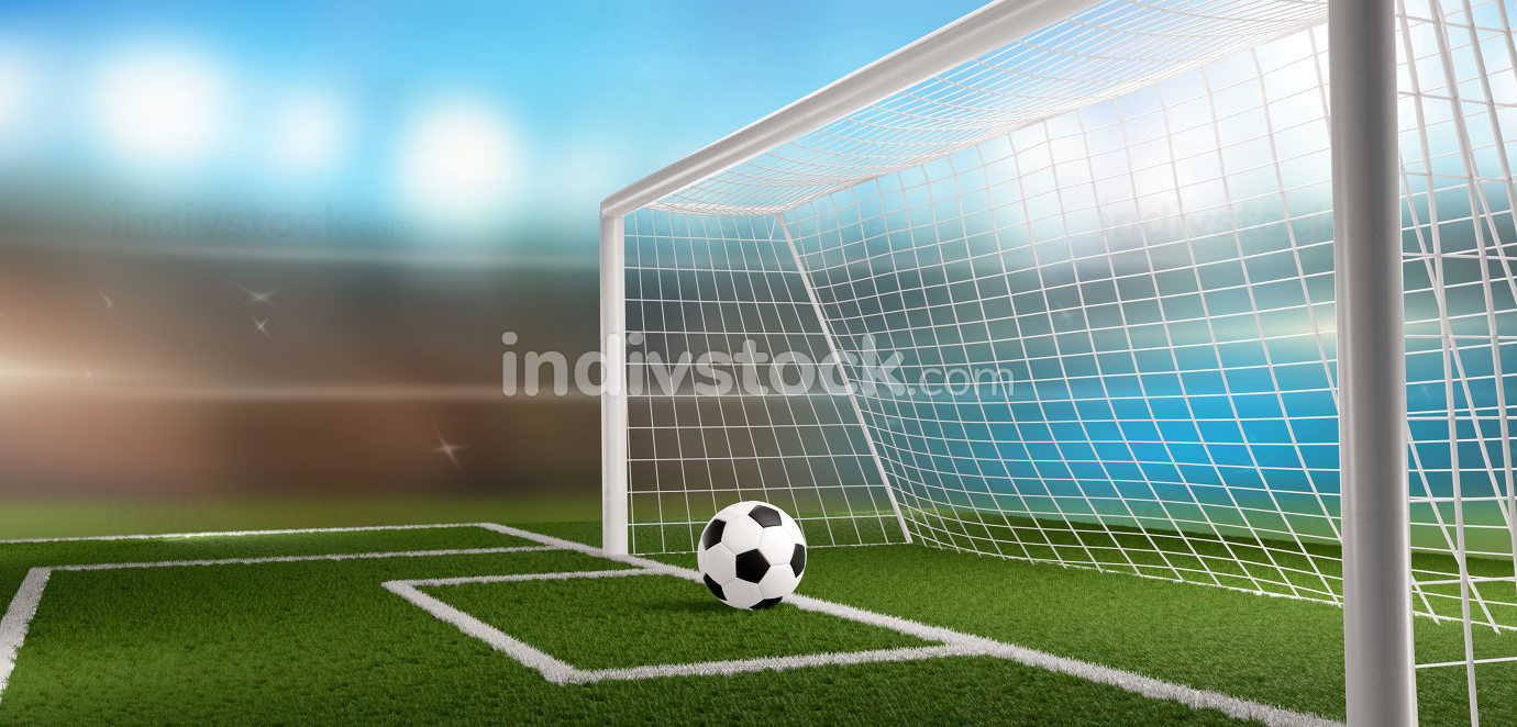 free download: soccer football ball and soccer goal 3d-illustration