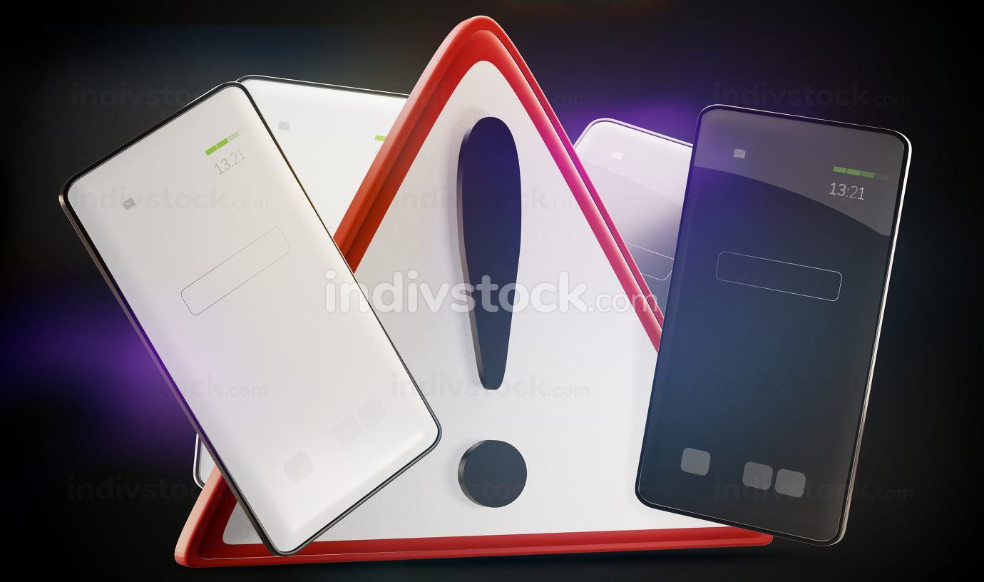 free download: warning sign and white and dark screen mobile phone 3d-illustration