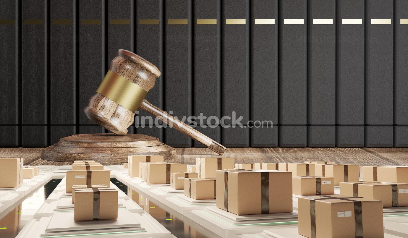 free download: wooden golden judge gavel and transport logistic parcel boxes 3d-illustration