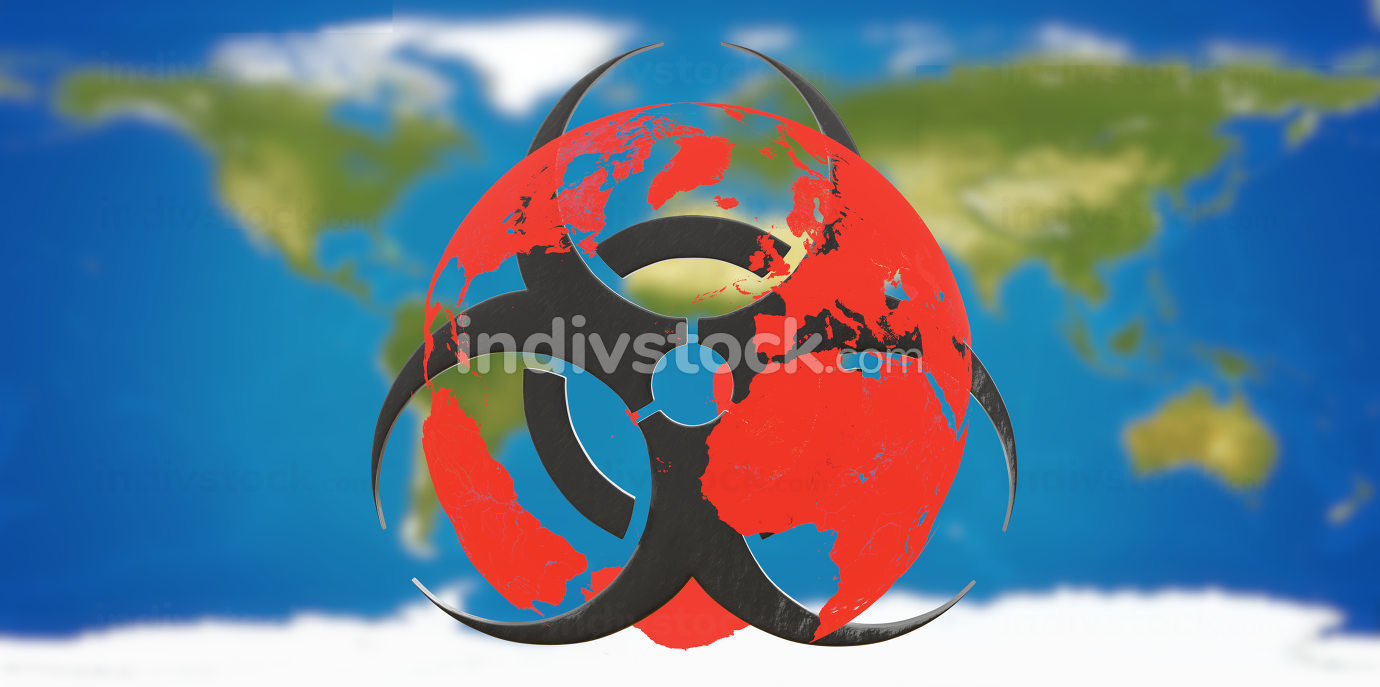 free download: worl map with red globe with warning biohazard symbol 3d-illustration.elements of this image furnished by NASA