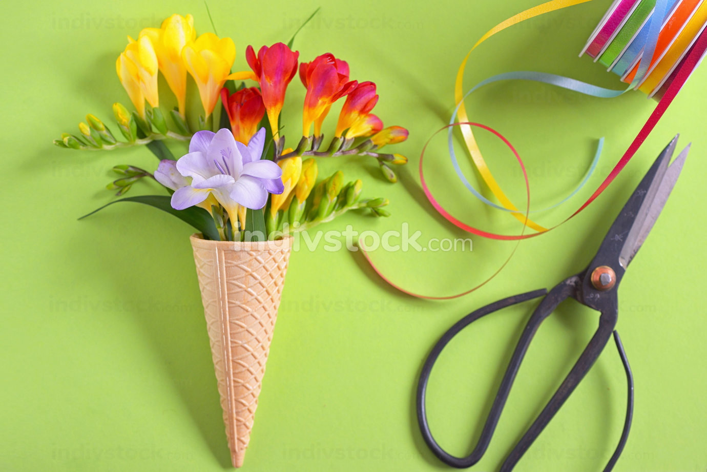 Freesias flowers in ice cream waffles and scissors