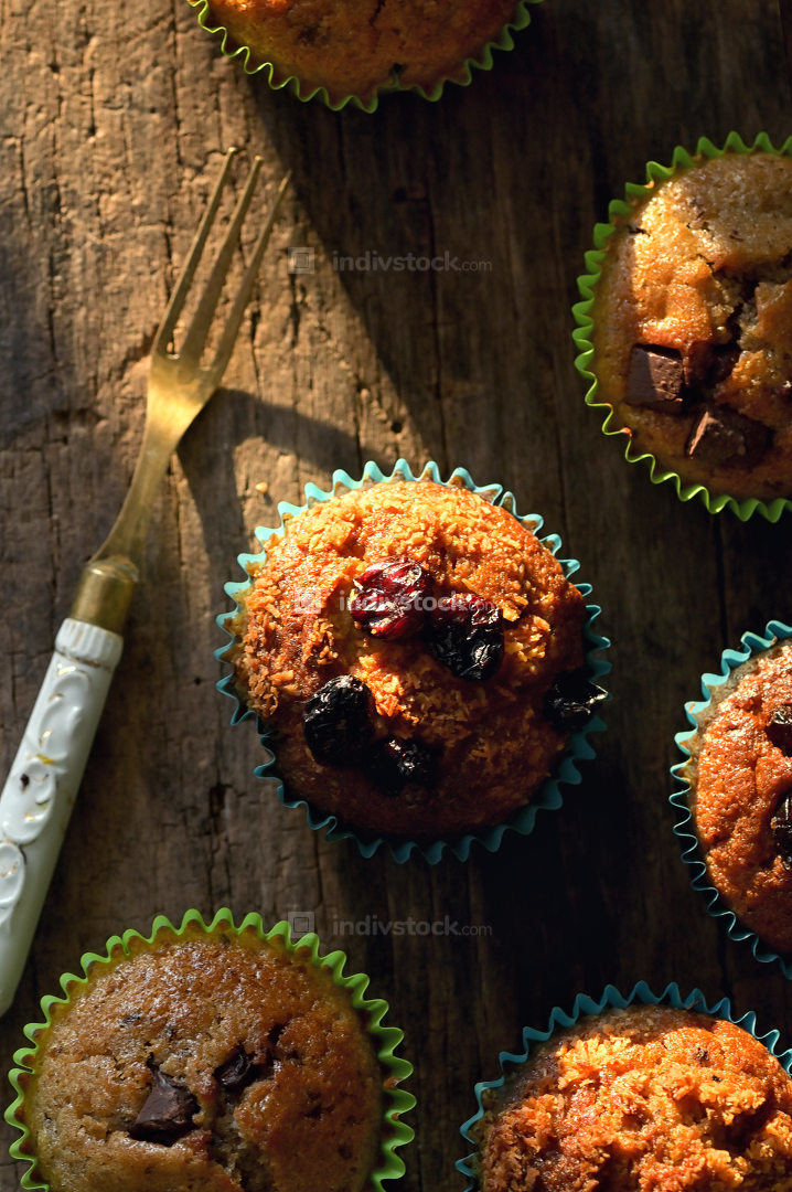 Fresh Muffins with Chocolate or Fruits