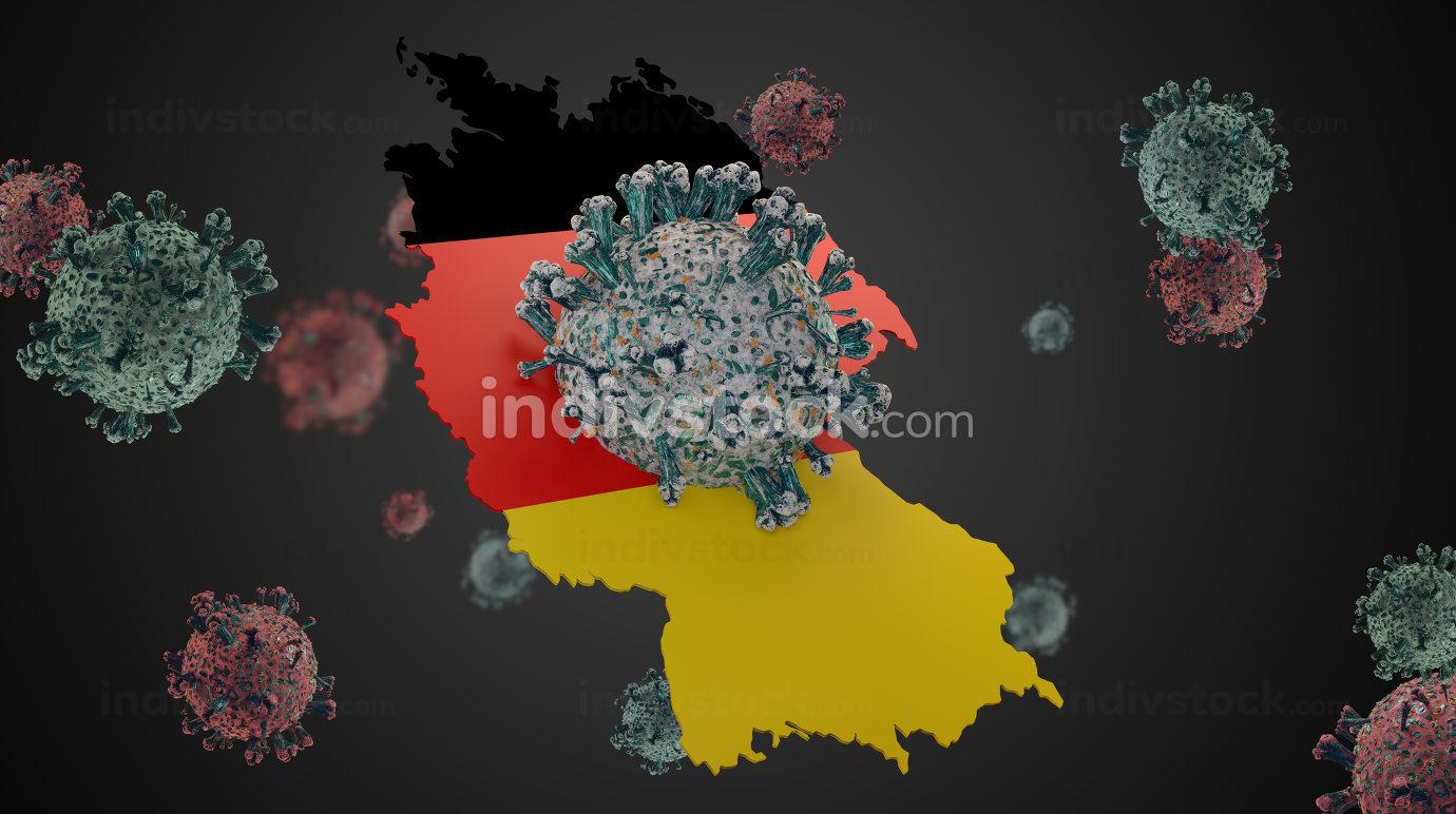 Germany outline and Coronavirus COVID-19 Virus cell. Corona Viru