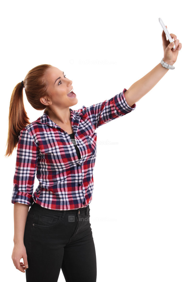 Girl in casual clothes taking a selfie