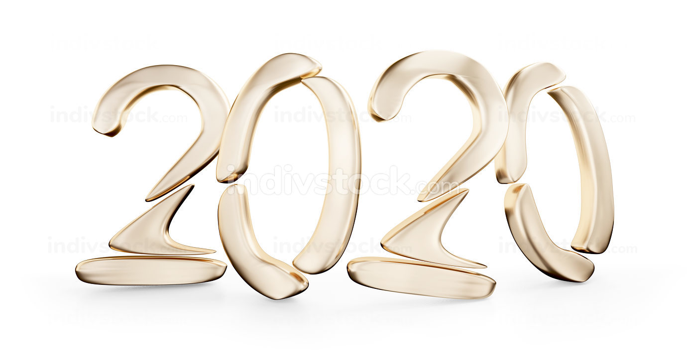 golden 2020 bold letters 3d-illustration