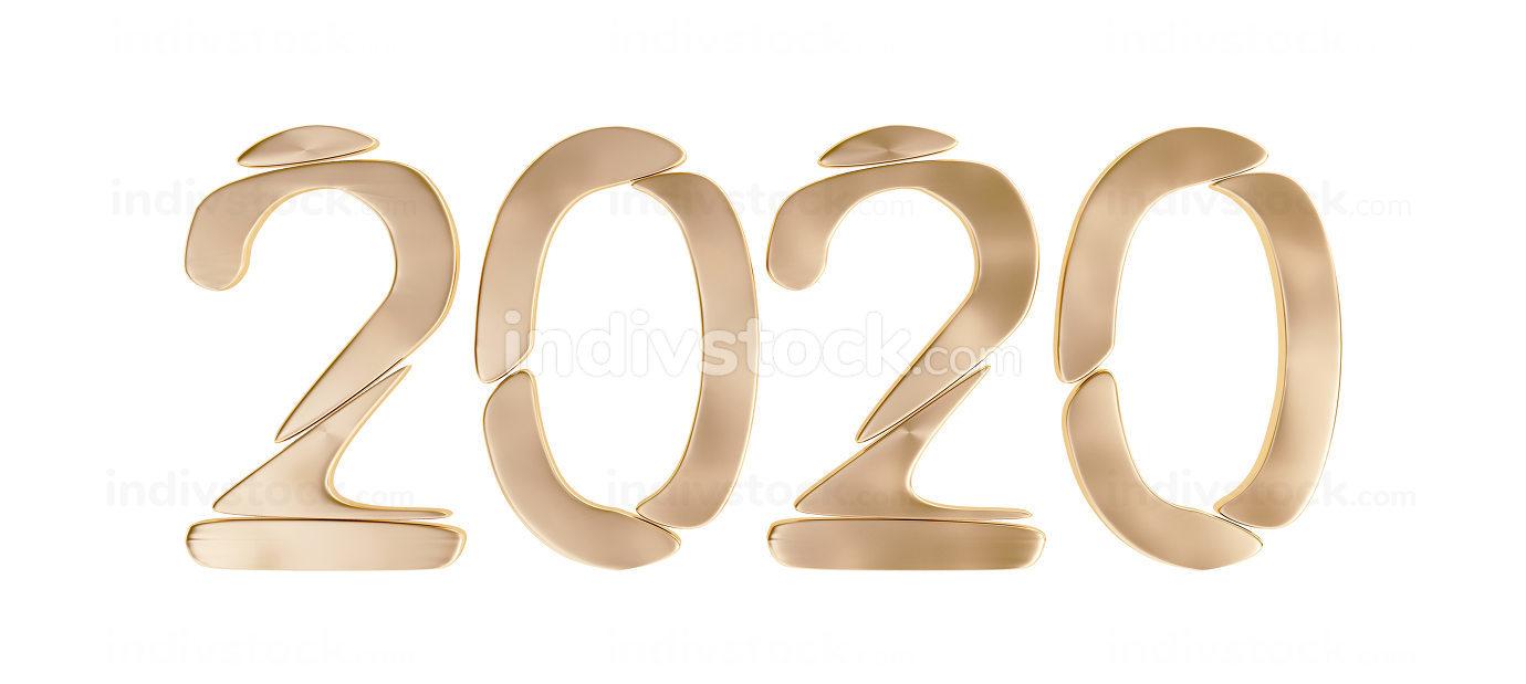 golden 2020 bold letters 3d-illustration