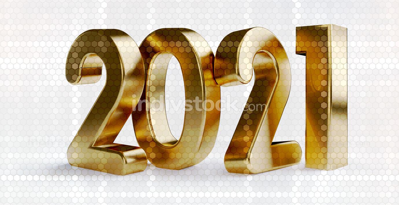 golden color 2021 and translucent hexagonal grid background 3d-i