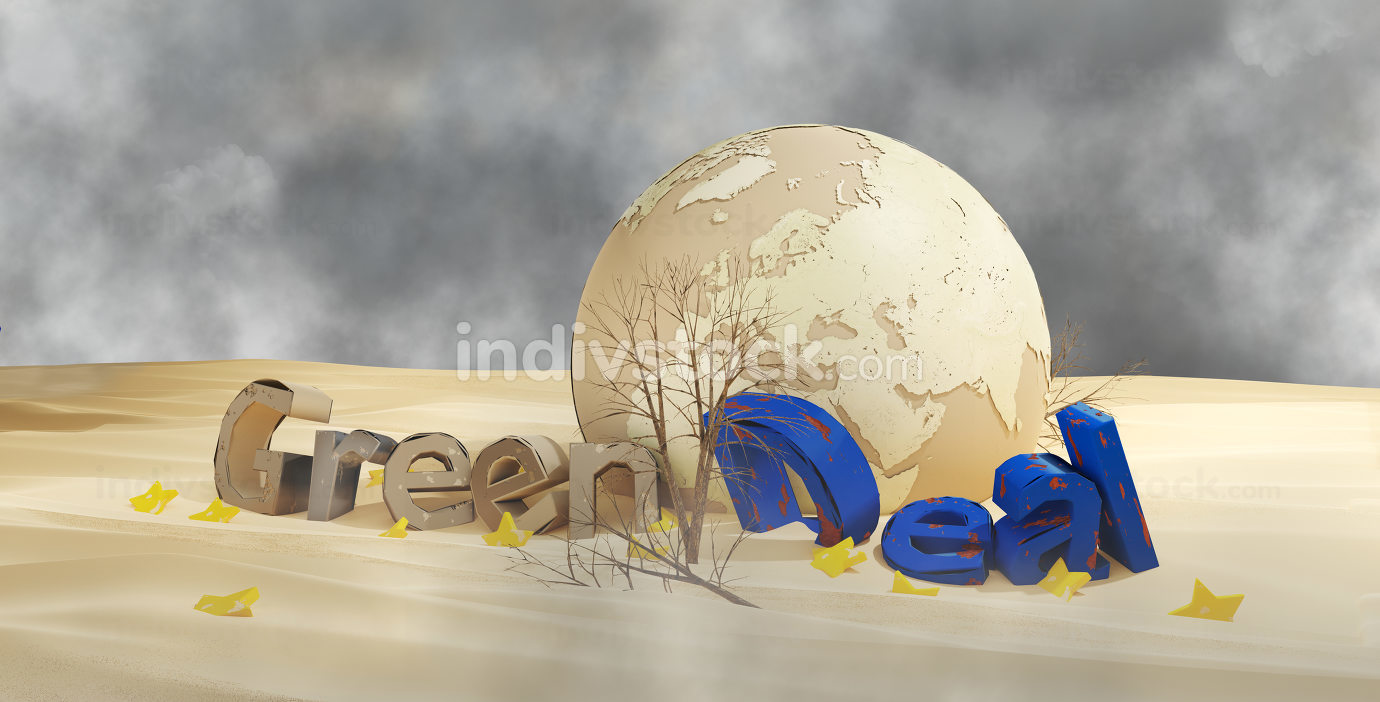 Green Deal desert design and planet earth 3d-illustration. elements of this image furnished by NASA