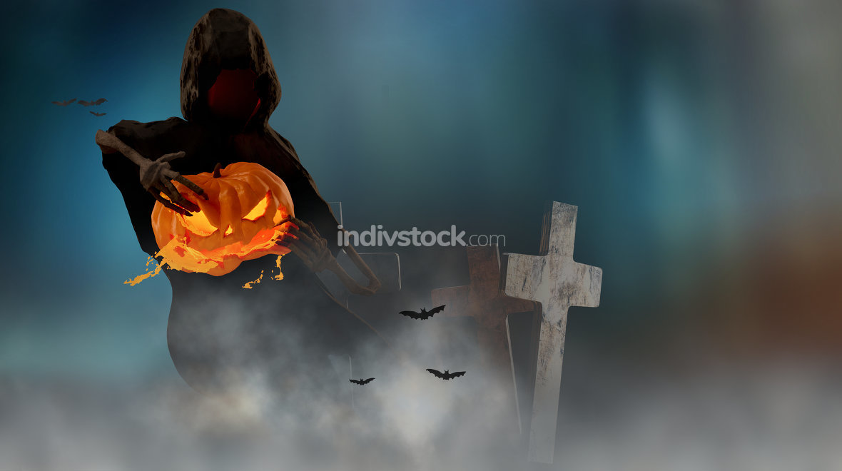 Halloween background tear up a Halloween pumpkin 3d-illustration