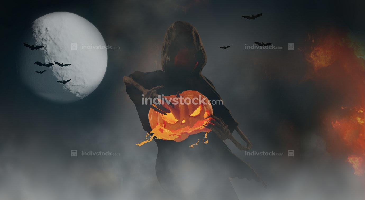 Halloween spooky dark creature rips a pumpkin under the moonligh