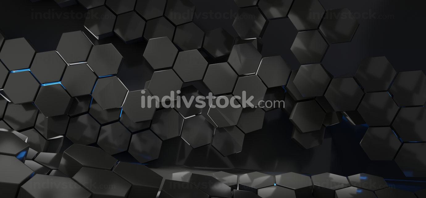 hexagon creative dark design background 3d-illustration