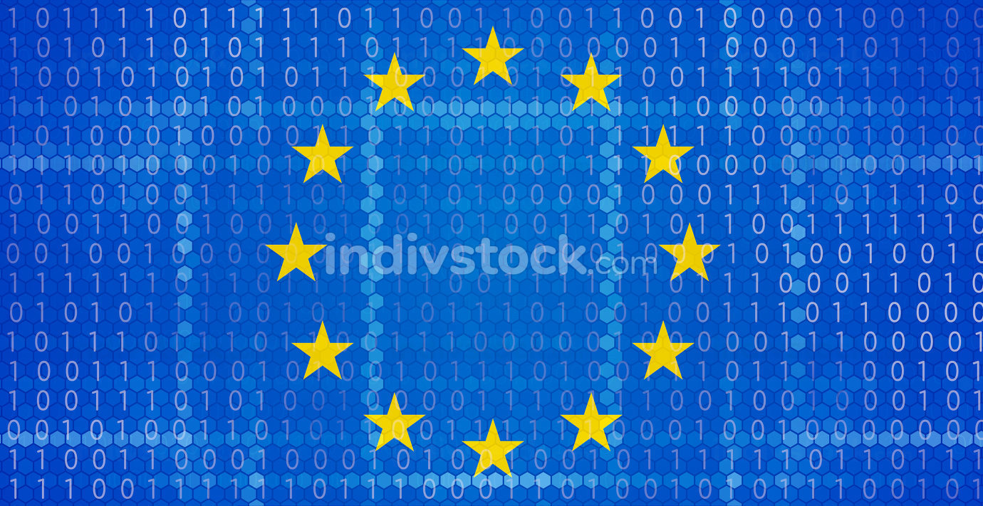 hexagonal binary code design on Europe background 3d-illustratio