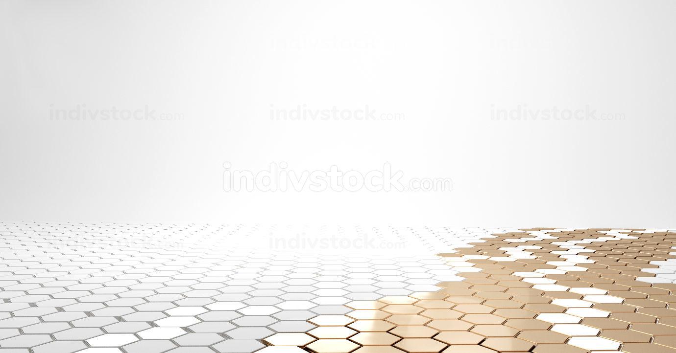 hexagonal golden white design 3d-illustration