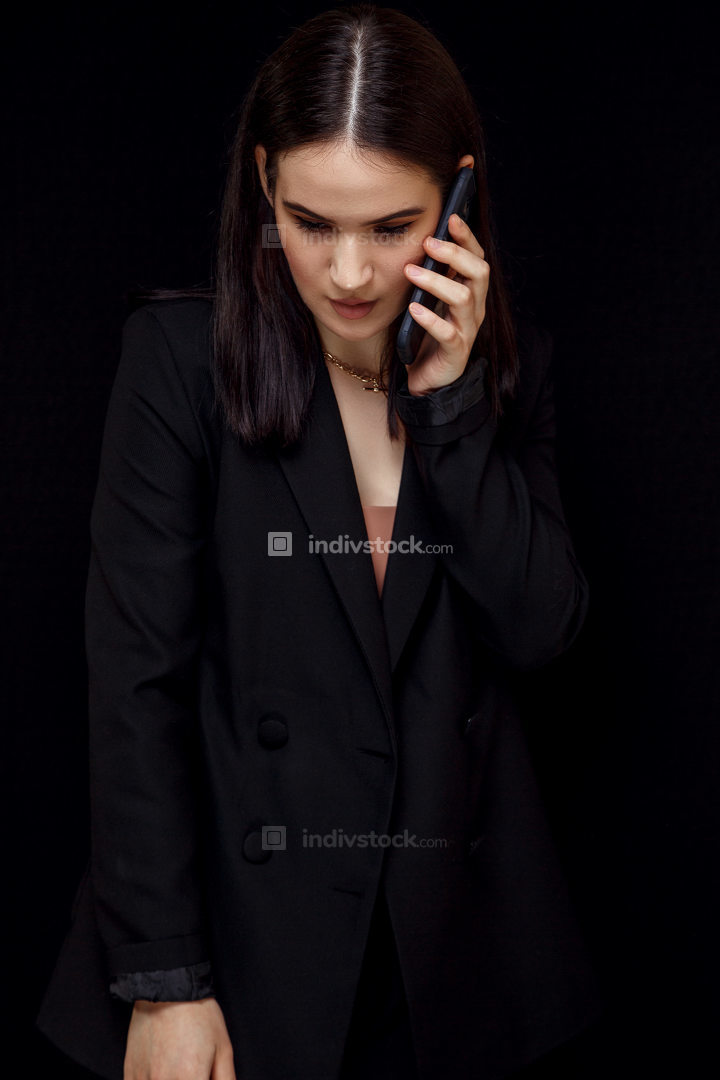 High fashion an expressive portrait of a young elegant woman in
