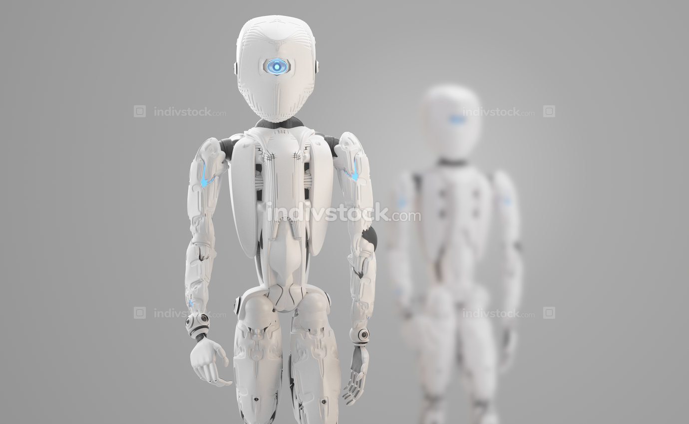 humanoid robot 3d-illustration design rendering