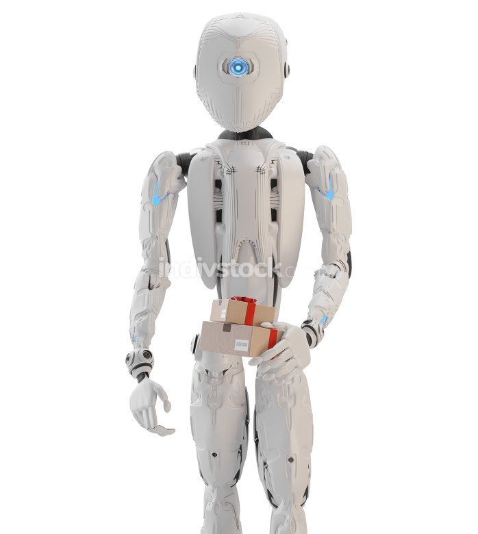 humanoid robot with christmas presents in his hand 3d-illustrati