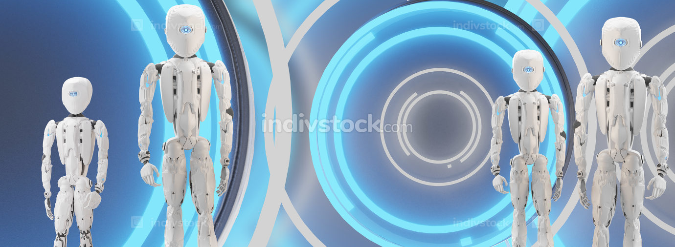 humanoid robots 3d-illustration modern technology background