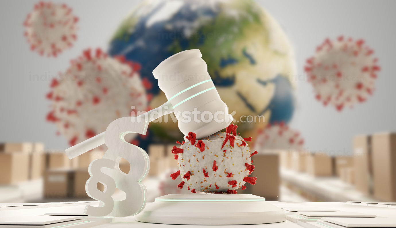 law, judge gavel symbolic virus cells. background 3d-illustratio