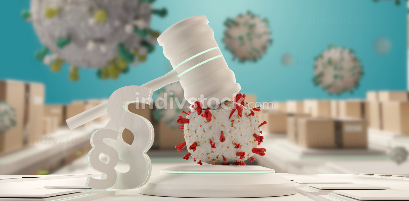 law, judge gavel symbolic virus cells. background 3d-illustration