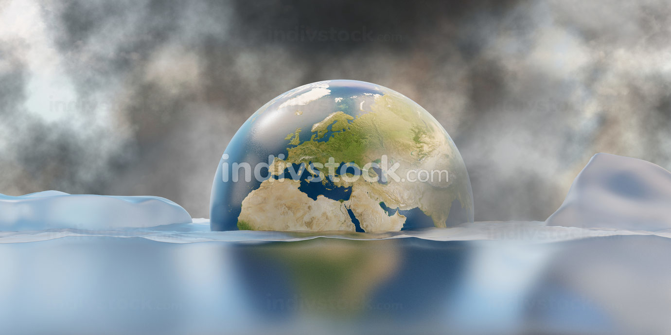melted ice and sea level rise. 3d-illustration. elements of this image furnished by NASA