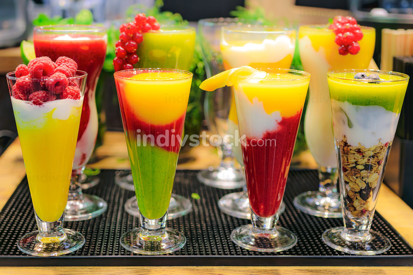 Mix of healthy fruit drinks