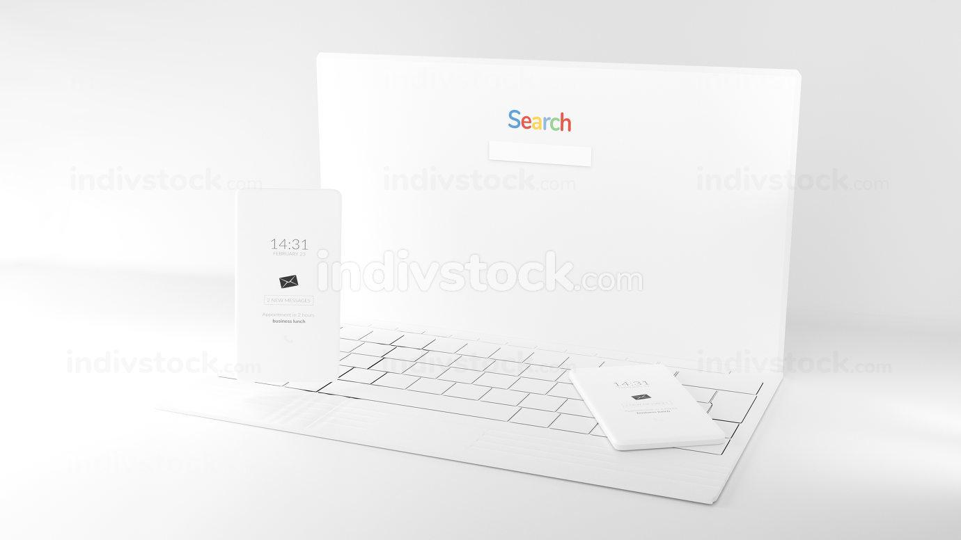 mobile phone computer white design background 3d-illustration