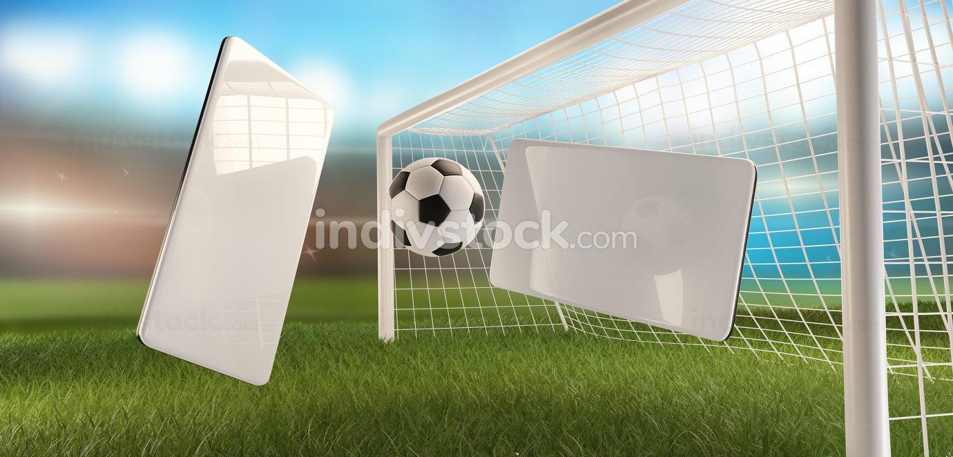 mobile phone soccer football ball and soccer goal 3d-illustration