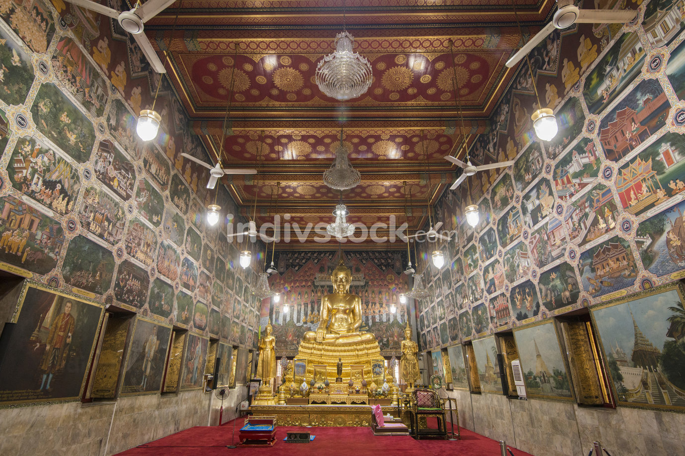 November, 2019 a Buddha at the Wat Pak Nam Temple in Thonburi near the city of Bangkok in Thailand