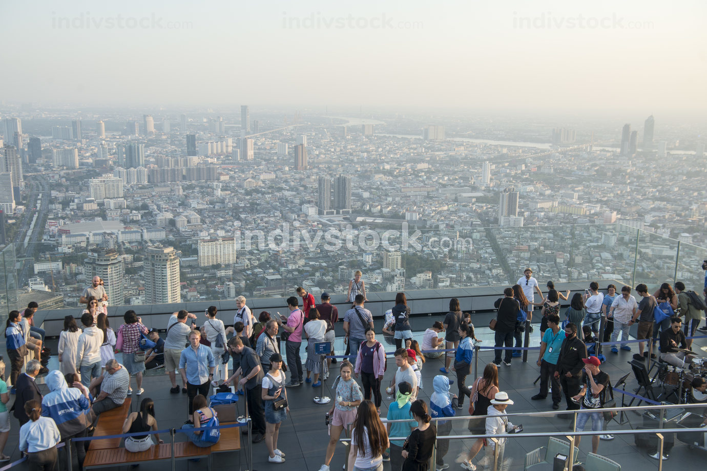 November, 2019 people at the Roof Top of the Maha Nakhon Building in Sathon in the city of Bangkok in Thailand