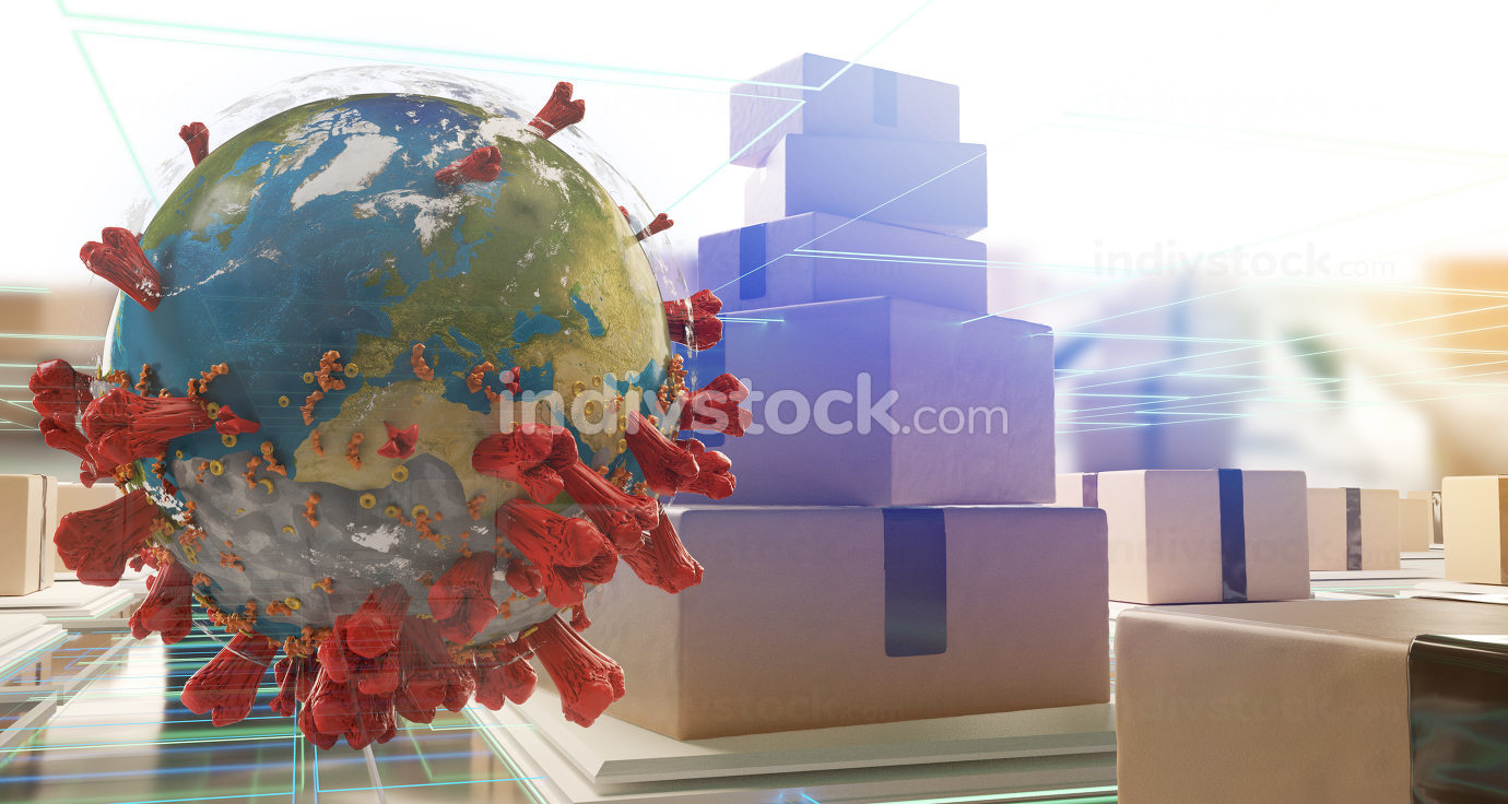 packages and coronavirus cell 3d-illustration symbolic. elements