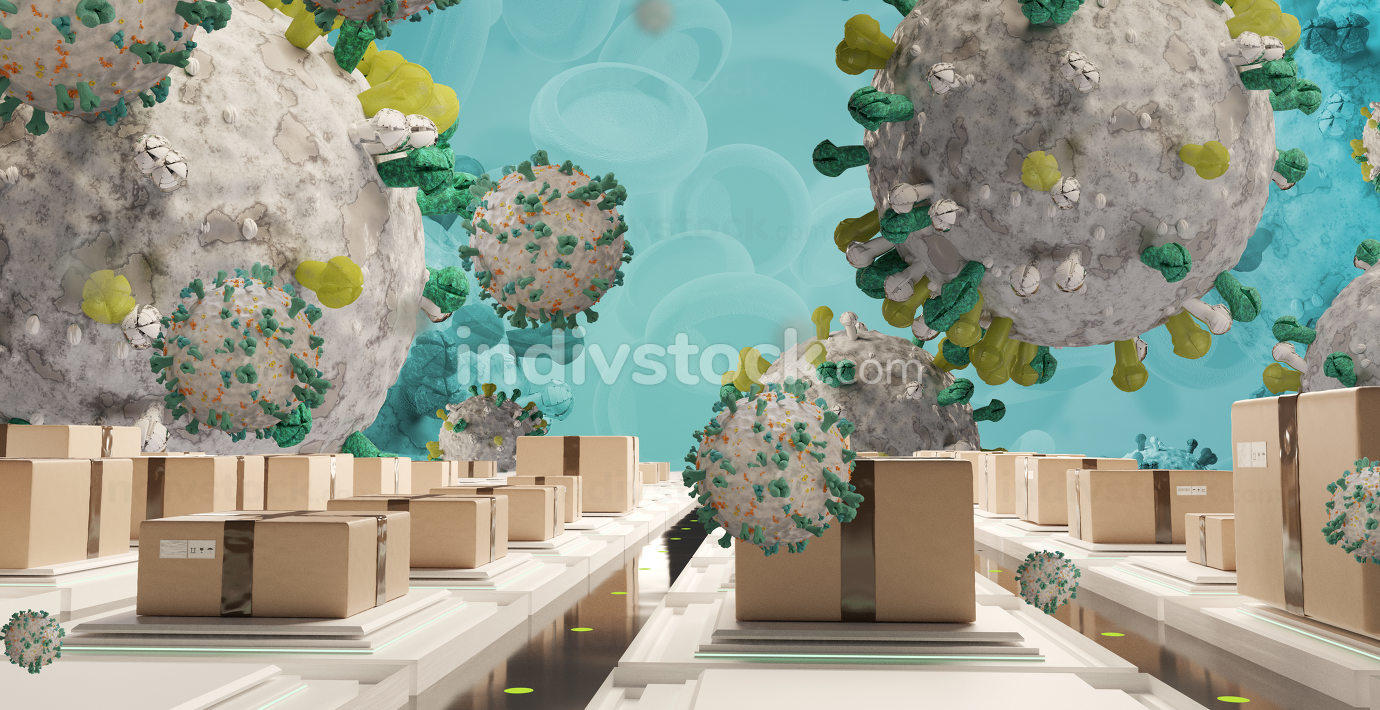 packages and symbolic virus cell. logistics center corona virus