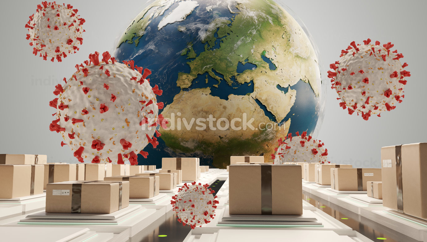 packages and symbolic virus cell. logistics center corona virus covid-19 3d-illustration. elements of this image furnished by NASA
