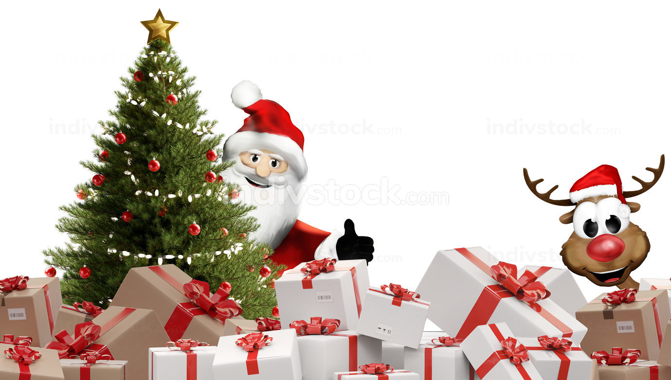 packed christmas presents. festive postal packages 3d-illustrati