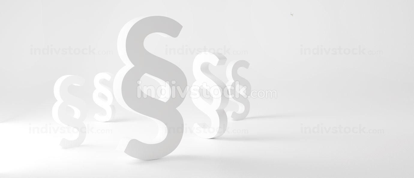 Paragraph white symbol background design 3d-illustration