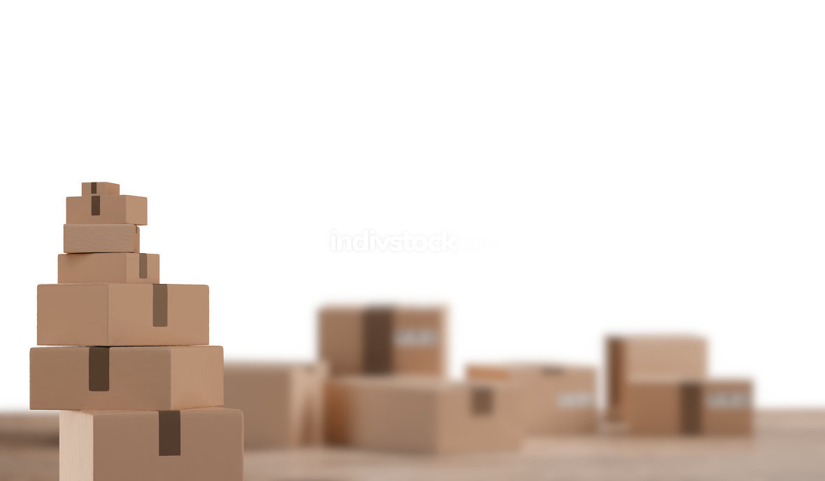 pile of packages and blurred packages on wooden floor 3d-illustr