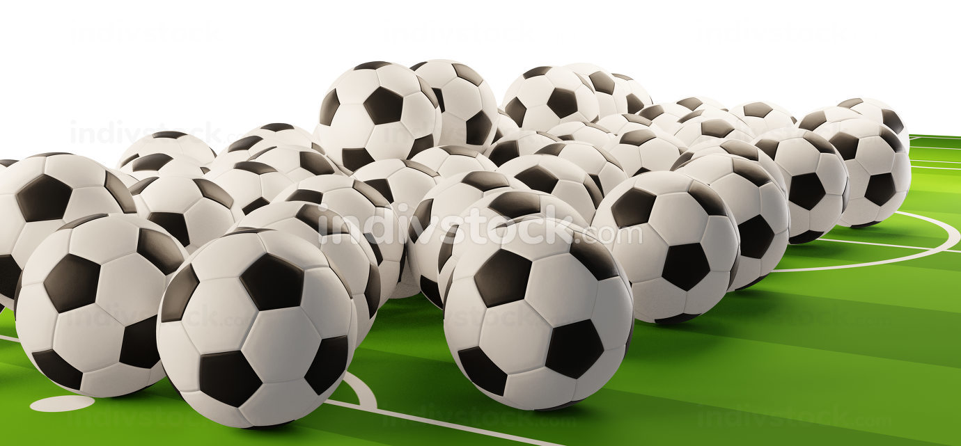 pile of soccer balls 3d-illustration design