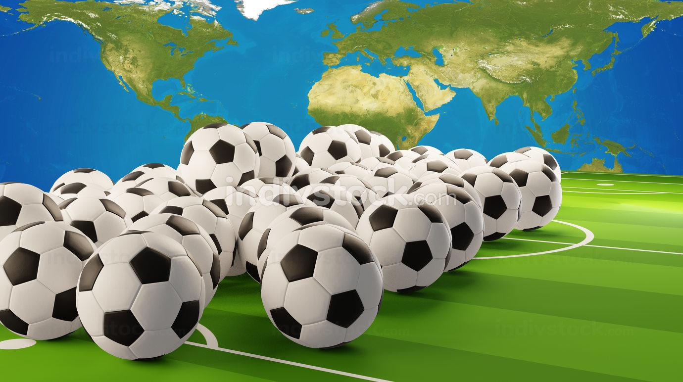 pile of soccer balls 3d-illustration design. elements of this image furnished by NASA