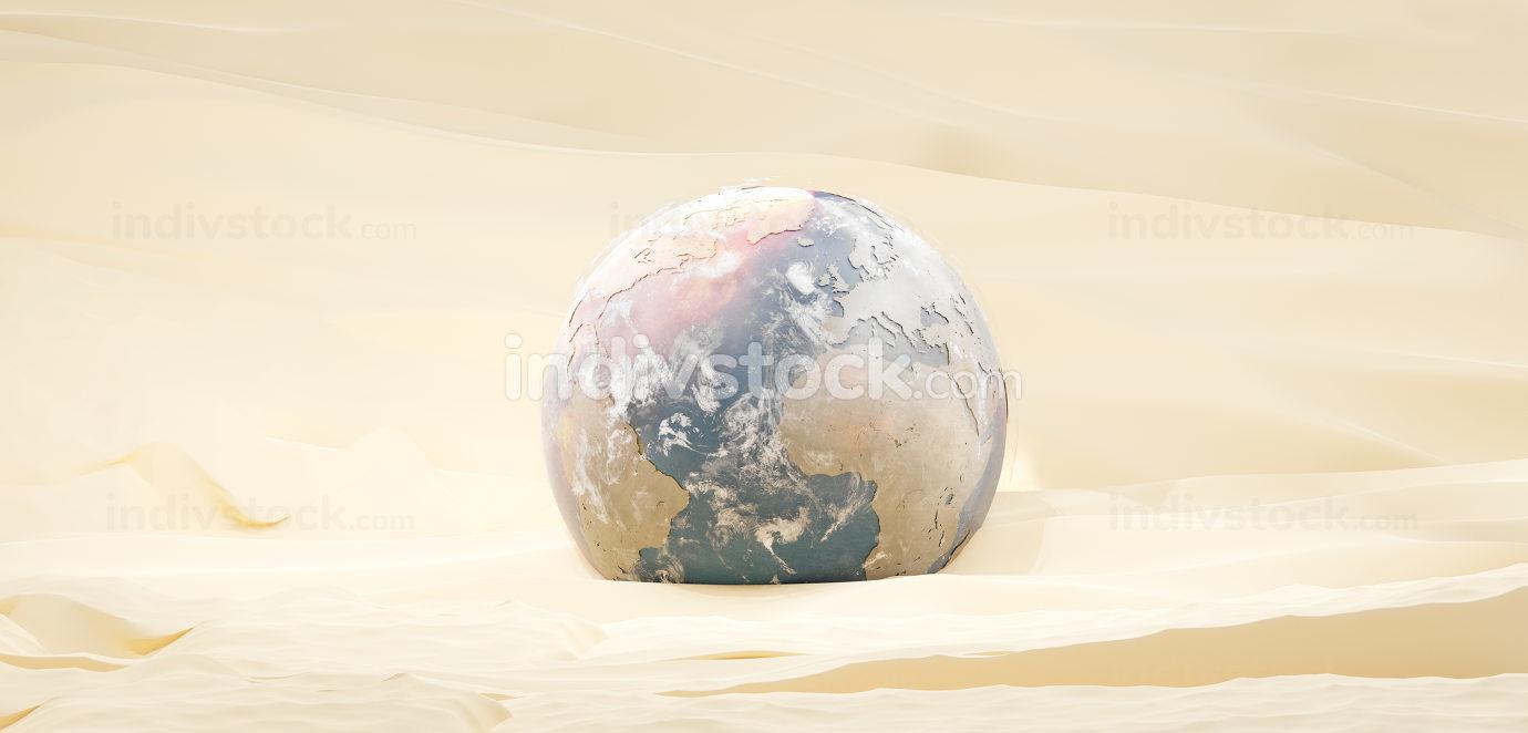 planet earth in sand desert design 3d-illustration. elements of