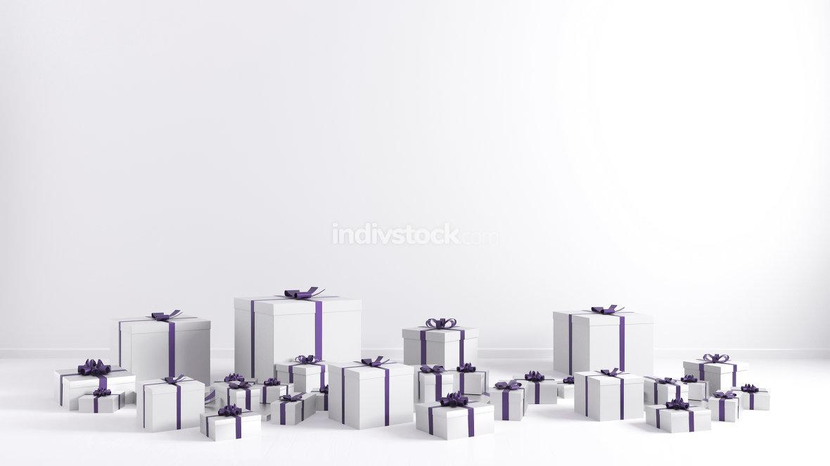 Purple Ribbon White Gift Boxes