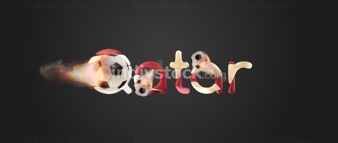Qatar golden national colored bold letters fire and flames ball 3d-illustration design