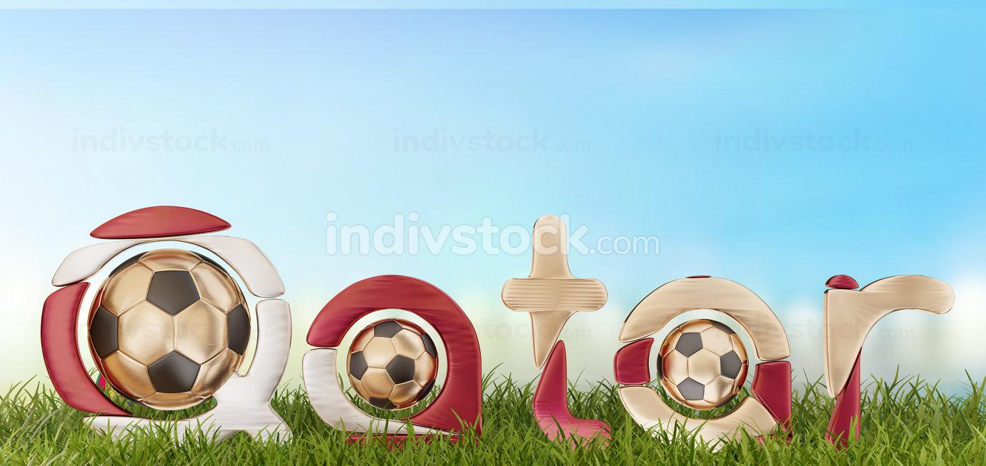 Qatar soccer symbol 3d-illustration