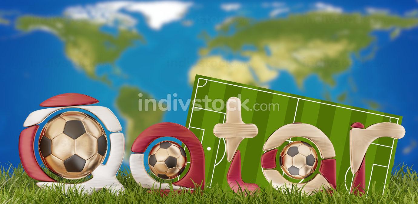 Qatar soccer symbol 3d-illustration. elements of this image furn