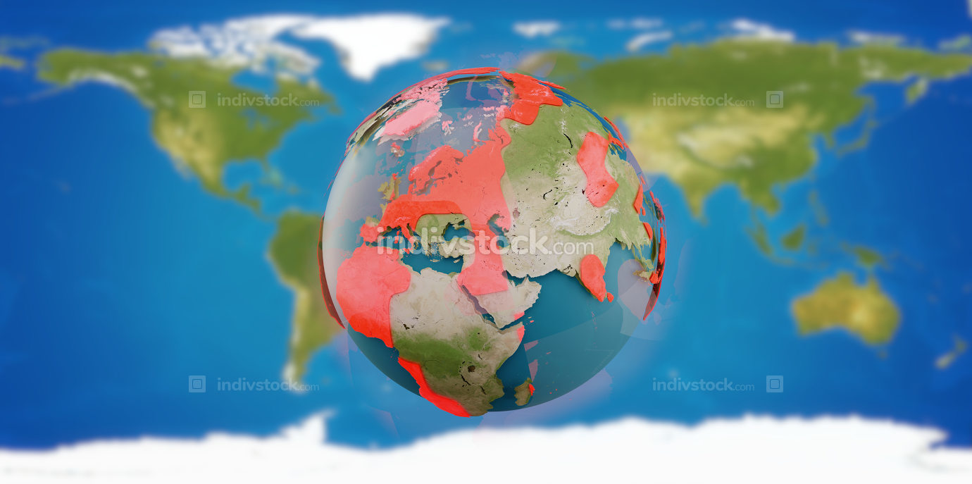 red zones on planet earth 3d-illustration. elements of this image furnished by NASA