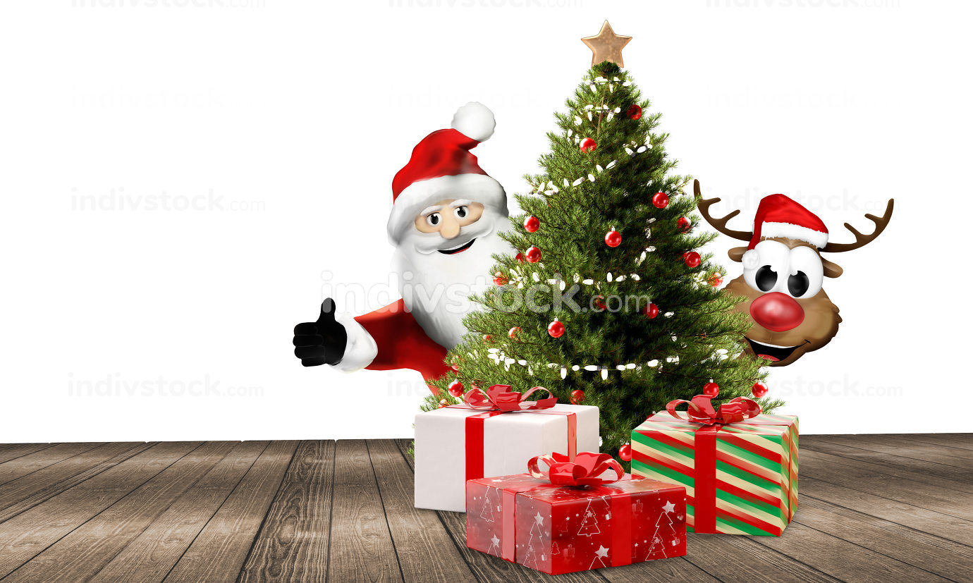 Santa Claus and a cute reindeer behind a tree with Christmas gif